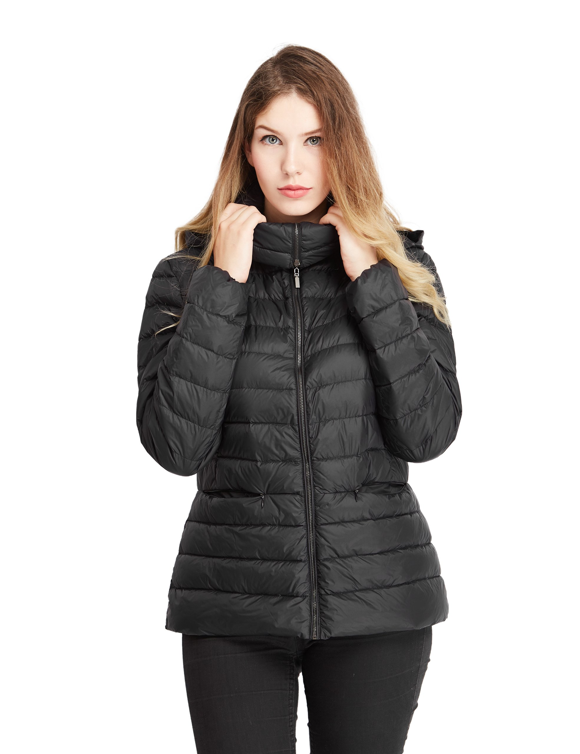Lotus Dew Women's Down Jacket Packable Quilted Coat Zipper Hood Pockets