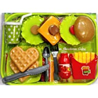 Negi Tableware Pretend Play Realistic Food Items for Kids Like Burger,Spoons,Fries,Ketchup,Waffle and Soft Drink