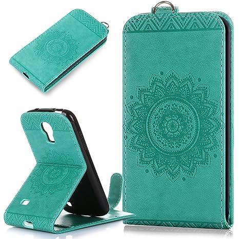 Galaxy S4 Mini funda,Galaxy S4 Mini carcasa,ikasus,diseño de encaje floral mandala flor patrón piel sintética plegable tipo cartera,funda de piel tipo ...