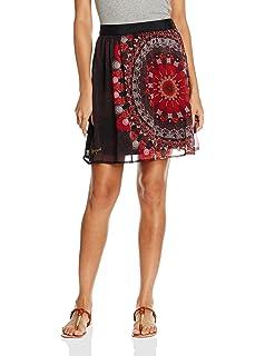 Desigual Falda Lisa Rep Negro/Rojo ES 36