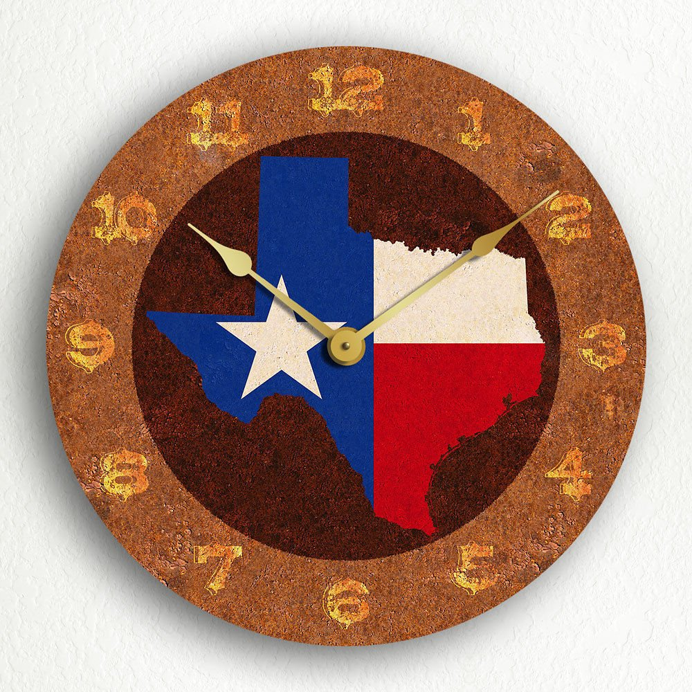 MYTIME- Texas State Flag Traditional Style Silent Wall Clock 12 inch by MYTIME