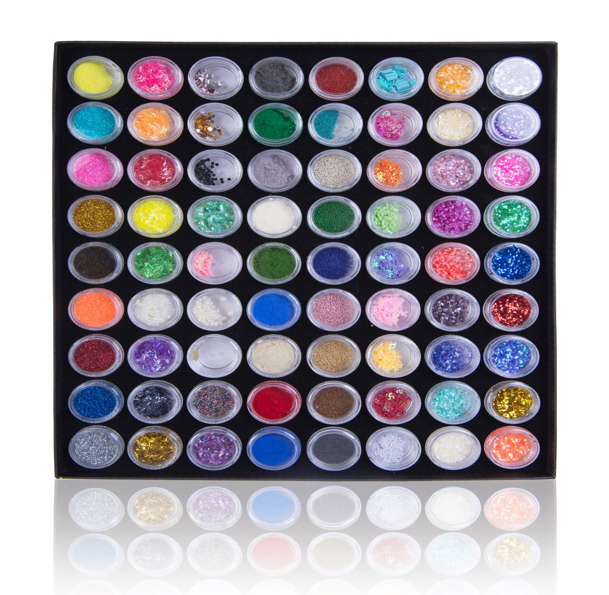 Shany Premium Nail Art Decoration-3d Nail Art Accessories Kit-72pc Mix Set With Storage Box ETRAVIS Inc CA SH-NAILPOWDER-SET02