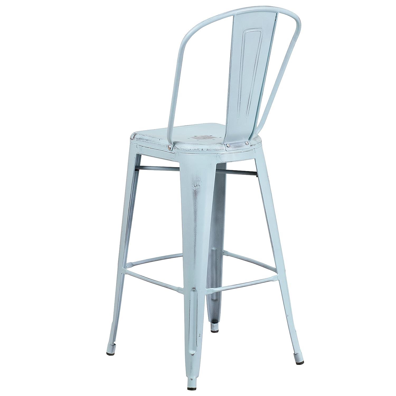 Amazon.com: Flash Furniture 30\'\' High Distressed Green-Blue Metal ...