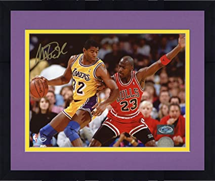 18136a5211a Framed Magic Johnson Los Angeles Lakers Autographed 8'' x 10'' vs. Michael  Jordan Horizontal Photograph - Fanatics Authentic Certified at Amazon's  Sports ...