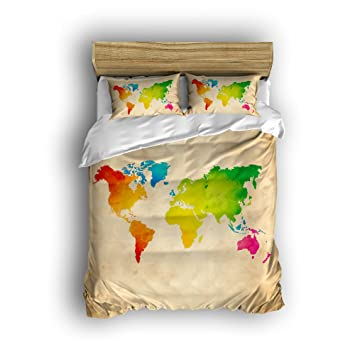 Amazon ezon ch 100 brushed cotton soft vintage colorful world ezon ch 100 brushed cotton soft vintage colorful world map design 4 piece duvet gumiabroncs Image collections
