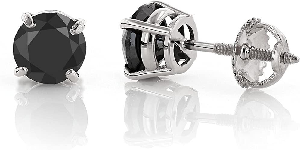 5Ct Brilliant Round Basket Screw Back Stud Earrings 14K Solid Rose Gold