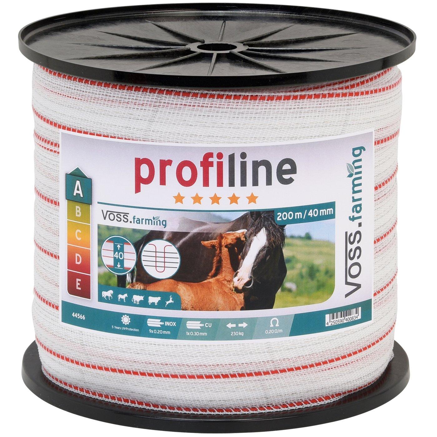 Ruban de clôture électrique 200 m 40 mm conducteur 9 x 0,2 mm acier inoxydable + 1 x 0,3 cuivre fil câble clôture cheval chèvre mouton poney Voss.farming