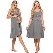 Ekouaer Delivery Gown For Women,O-Neck Cotton Pregnant Sleepdress,Grey,X-Large