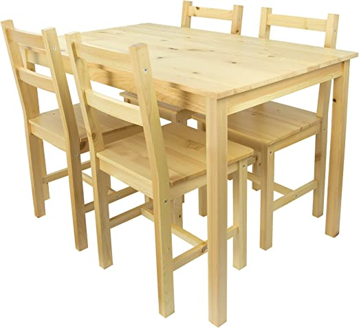 Mesa de Pino y 4 sillas de Madera Natural: Amazon.es: Hogar