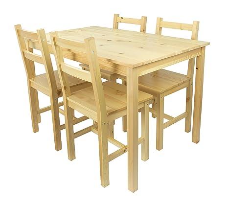 Merkell Tavolo da pranzo Set: tavolo di pino e 4 sedie legno ...