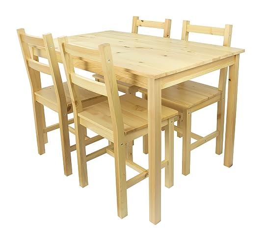 Table en pin avec 4 chaises en bois Naturel table a manger Set ...