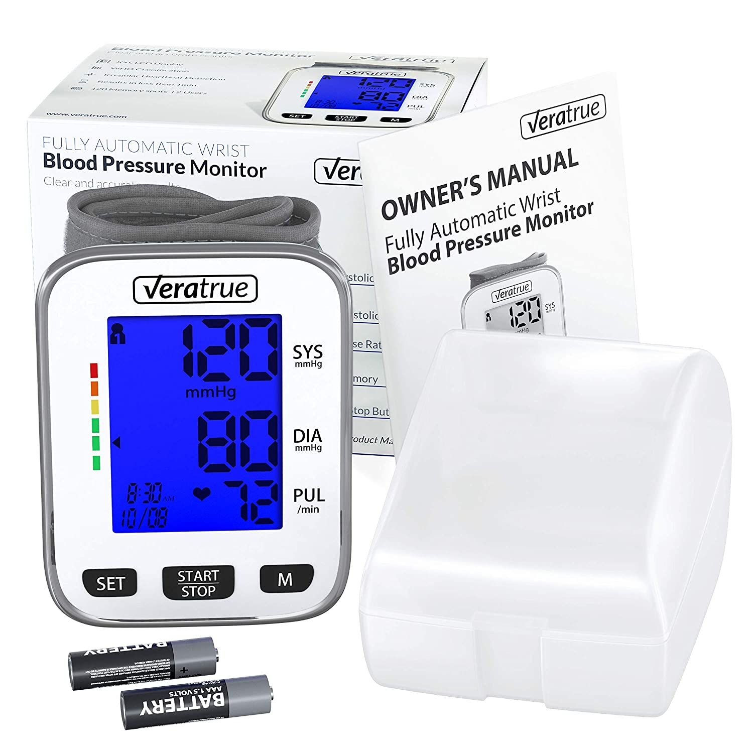 Wrist Blood Pressure Monitor by Veratrue – Includes Fully Automatic Monitor, 2AAA Carrying case – XXL LCD Display, Blue Backlight, Irregular Heartbeat Detector, Memory