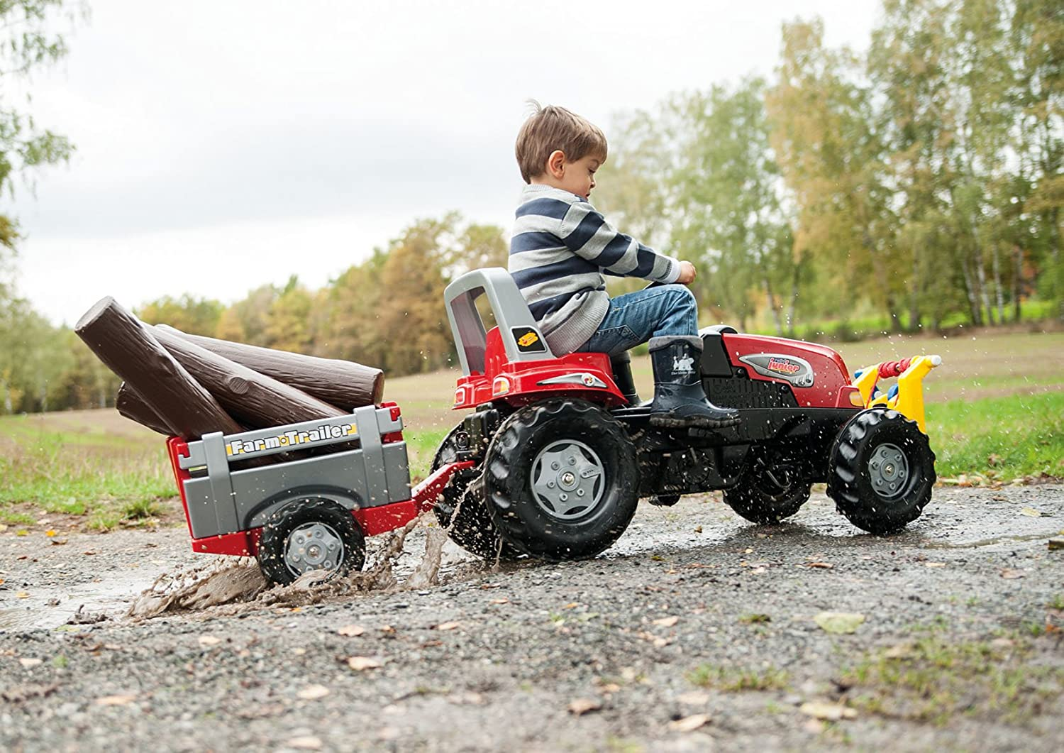 Rolly Toys Junior RT Tractor with Farm Trailer Red