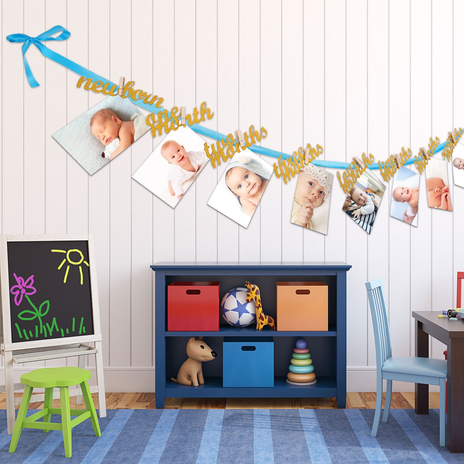 Baby Growth Record from Newborn to 12 Month Photo Bunting Party Wall Decor for Boys Bememo Blue and Gold First Birthday Decorations Banner