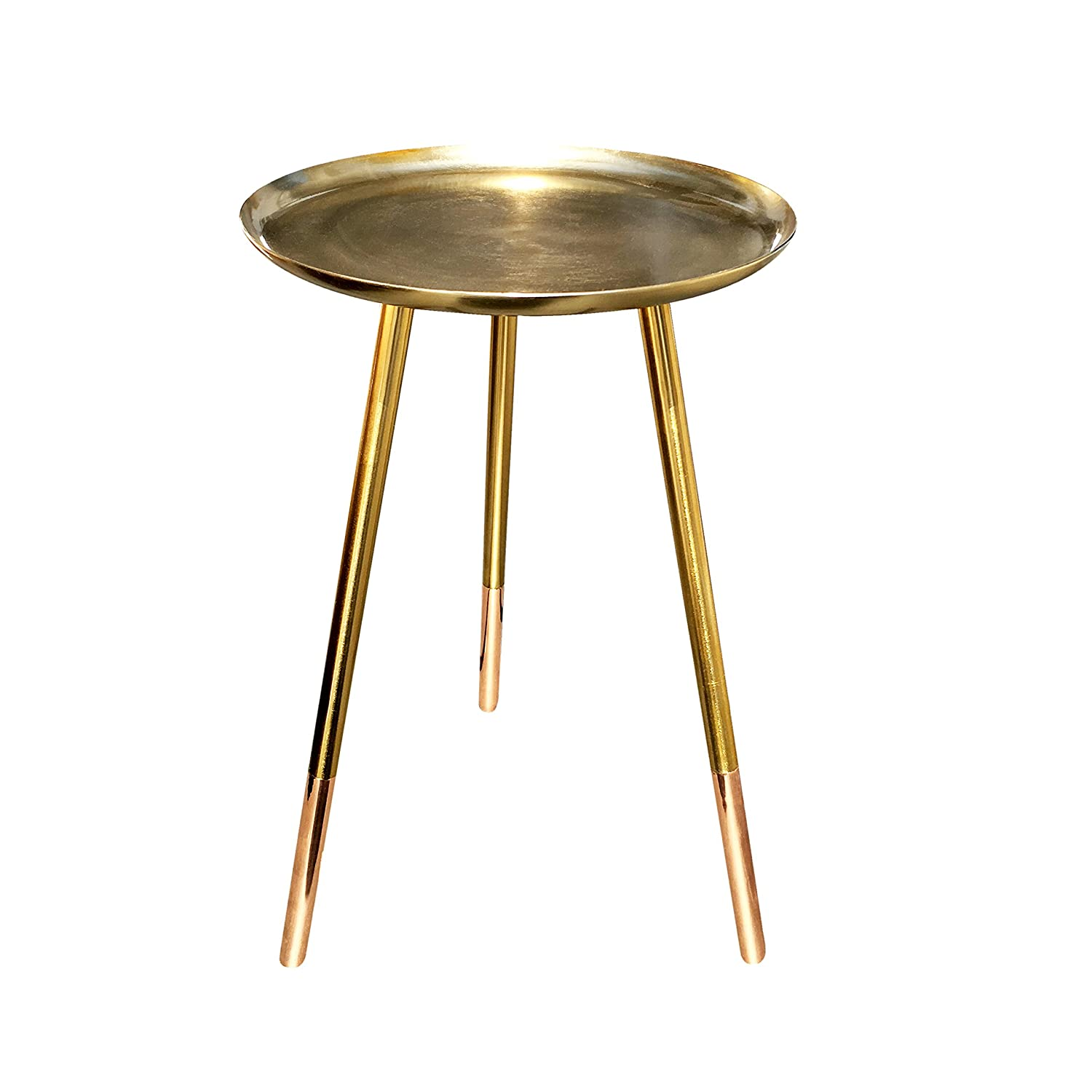 Bombay Duck Round Table with Copper Legs Small Brass Metal 1x31x52 cm