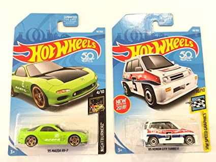 HW vehicle bundle Hot Wheels 2018 50th Anniversary Nightburnerz 95 Mazda RX-7 141