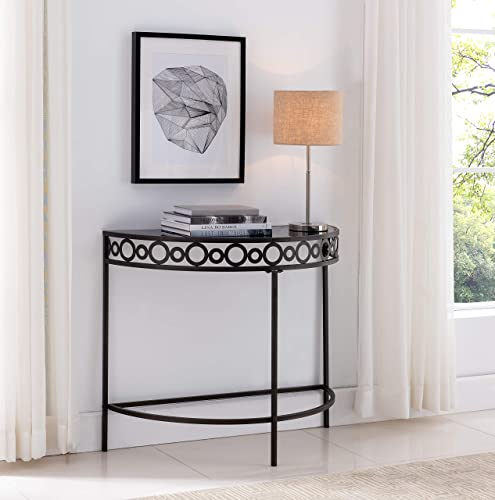 Kings Brand Furniture – Michelino Pewter Metal Black Tempered Glass Console Table