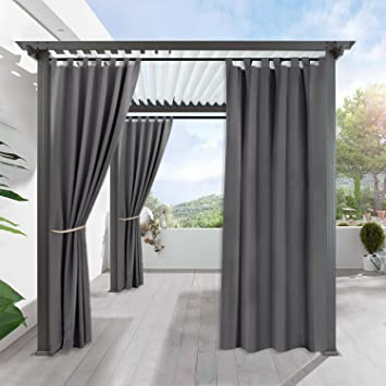 Blackout Curtains Panels For Patio   RYB HOME Window Treatment Tab Top  Waterproof Windproof Outdoor Indoor