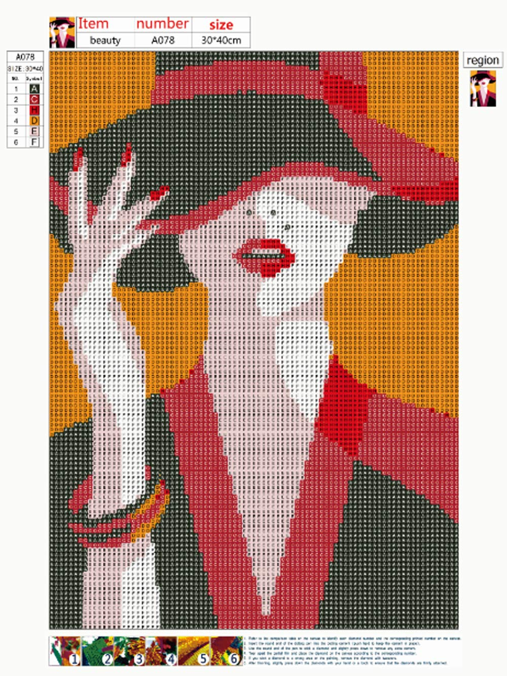 DIY 5D Diamond Painting Full Round Drill Kit Rhinestone Picture Art Craft for Home Wall Decor 12x16In Elegant Lady