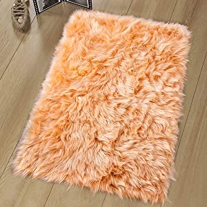 Noahas Luxury Fluffy Rugs Bedroom Furry Carpet Bedside Faux Fur Sheepskin Area Rugs Children Play Princess Room Decor Rug, 2ft x 3ft, Light Orange
