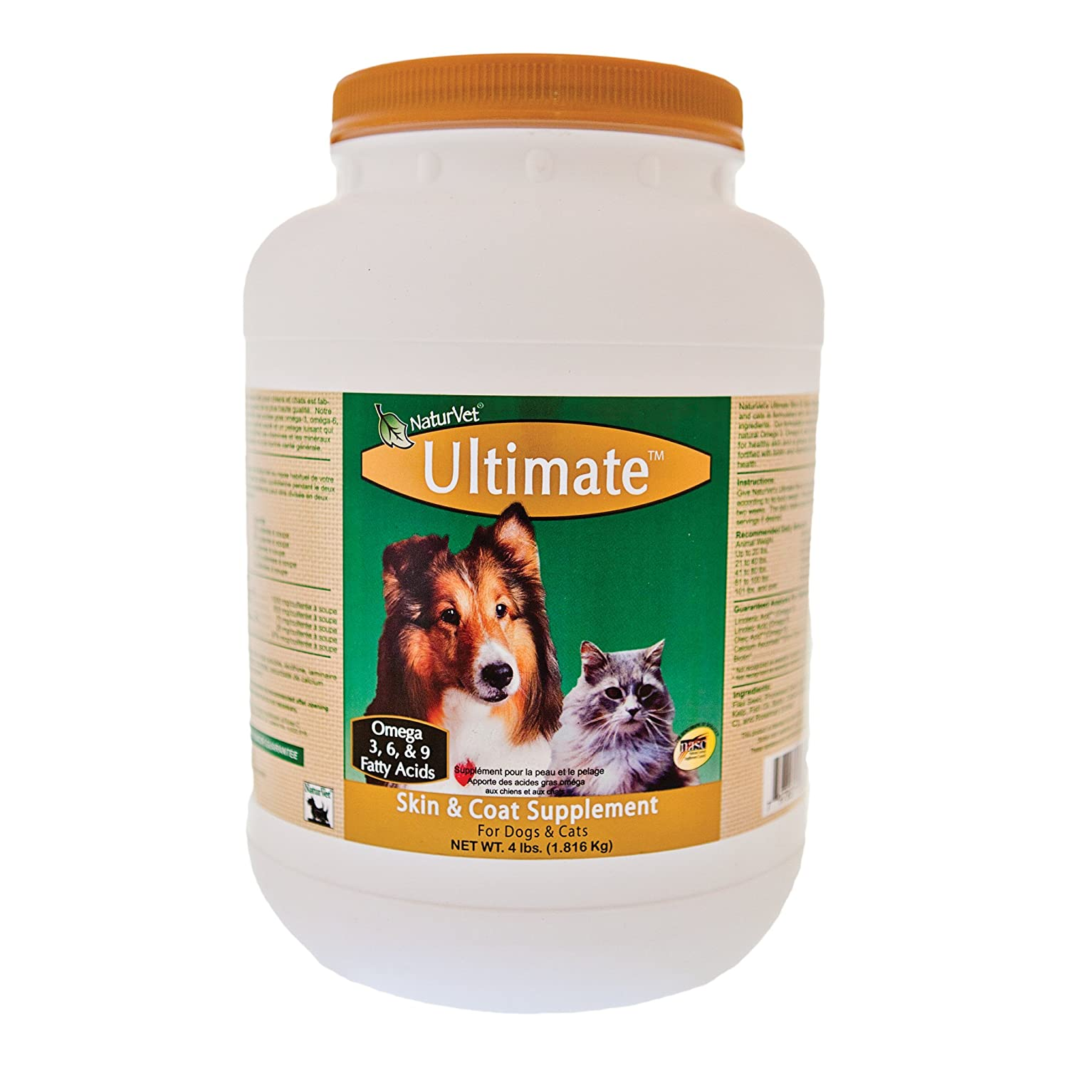 NaturVet Ultimate Skin & Coat Supplement Powder 4lb (Jar) for Dogs and Cats