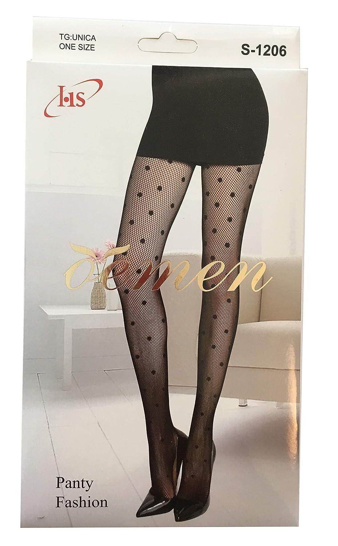 OEMEN 2 Paia Calze Collant Donna A Rete Fantasia Pois Unica Colore Nero TG