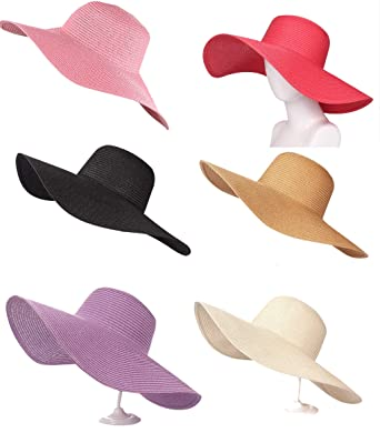 3214a2edd5d00e A&O International Wholesale Pack of 6 Big Floppy Straw Hats Wide Solid  Color Assorted at Amazon Women's Clothing store: