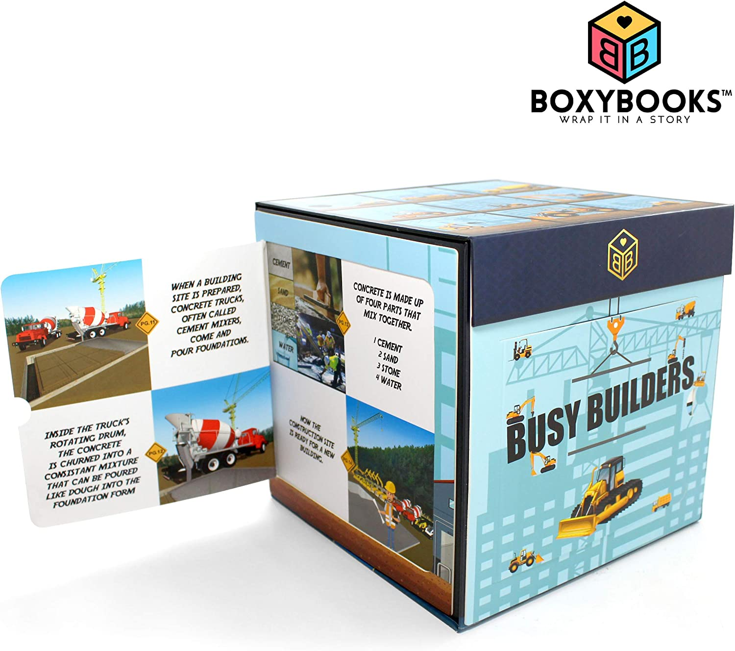 """BOXYBOOKS Busy Builders Pop-Up Book Toy Box with Fold Out Story Panels - Have Fun Learning About Construction Sites and Machines - 7"""" x 7"""" x 7"""" Toy Storage Box - Great Educational Gift for Kids 2-7"""