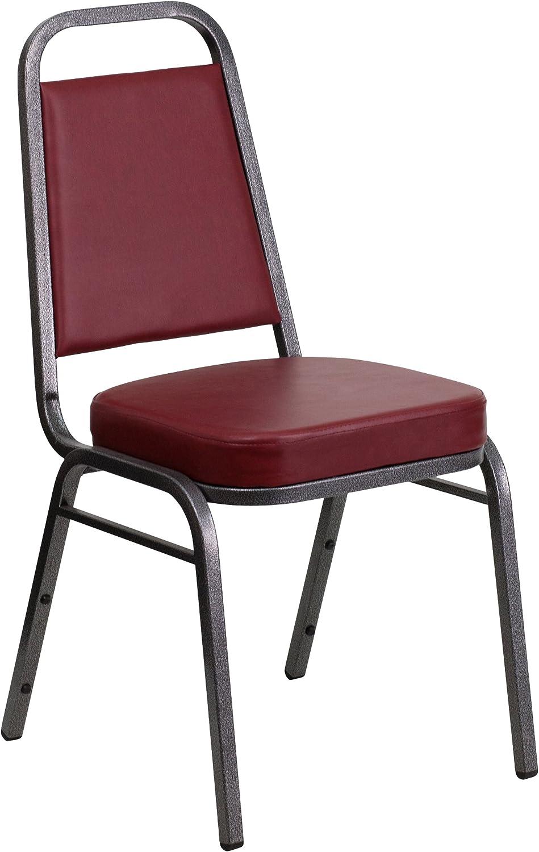 Flash Furniture HERCULES Series Trapezoidal Back Stacking Banquet Chair in Burgundy Vinyl - Silver Vein Frame