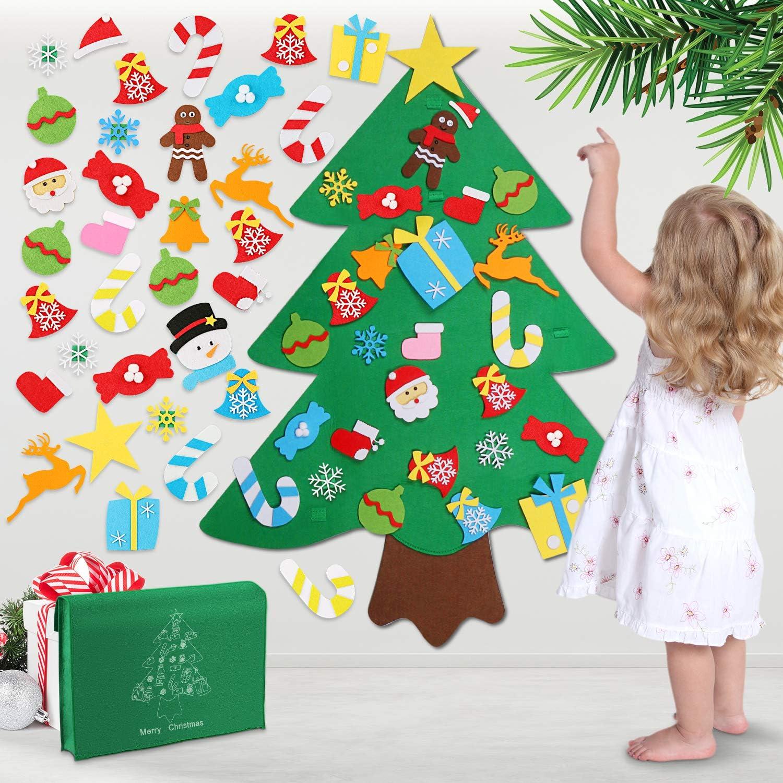 Wostoo Diy Weihnachtsbaum Filz Weihnachtsbaum Set Edition 32 Pcs Ornamente Wand Dekor Für Kinder Weihnachten Geschenk Home Tür Wand Dekoration Küche Haushalt
