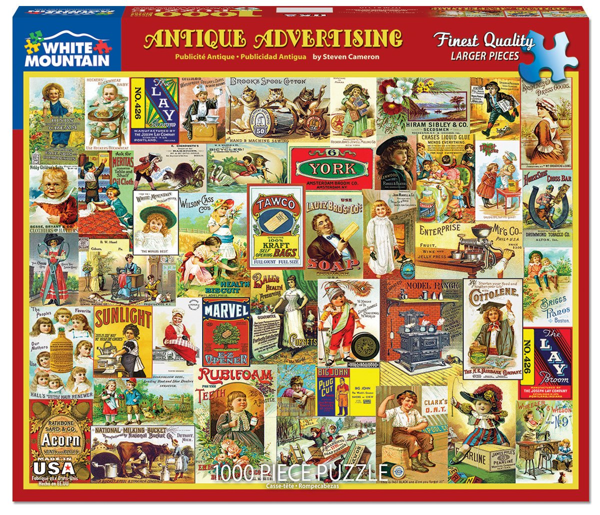 1000 Piece Jigsaw Puzzle Inc 1318 White Mountain Puzzles Antique Advertising