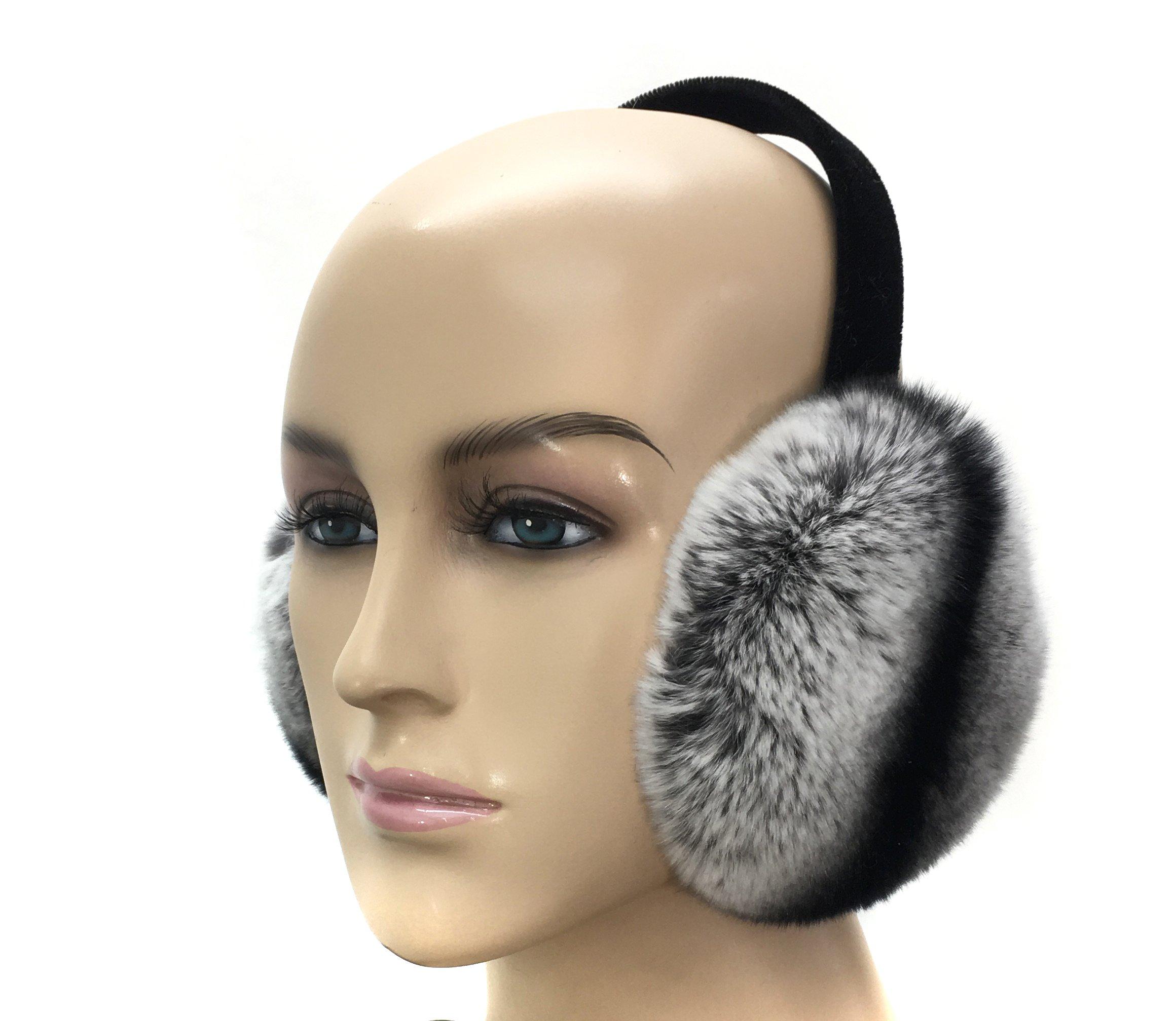 HIMA Chinchilla Real Rex Rabbit Fur Earmuff (Chinchilla)