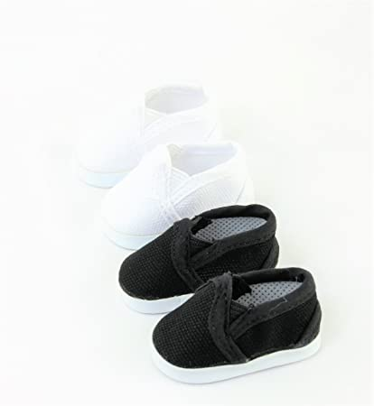 3238a336ce88d Amazon.com: 2 pack of Canvas Slip-On Shoes: Black and White | Fits ...
