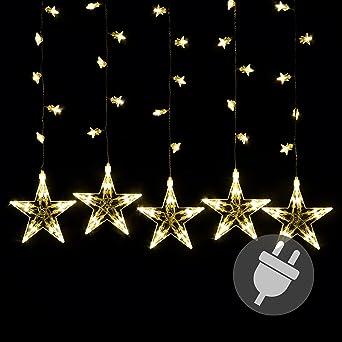 Stern Weihnachtsbeleuchtung.Sternenvorhang 100 Led Warm Weiß Lichterkette Lichtervorhang Stern Trafo Weihnachtsdeko Partydeko Weihnachtsbeleuchtung Innen Xmas
