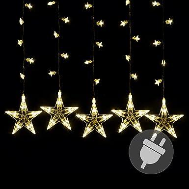 Sternenvorhang 100 LED warm weiß Lichterkette Lichtervorhang Stern Trafo Weihnachtsdeko Partydeko Weihnachtsbeleuchtung Innen