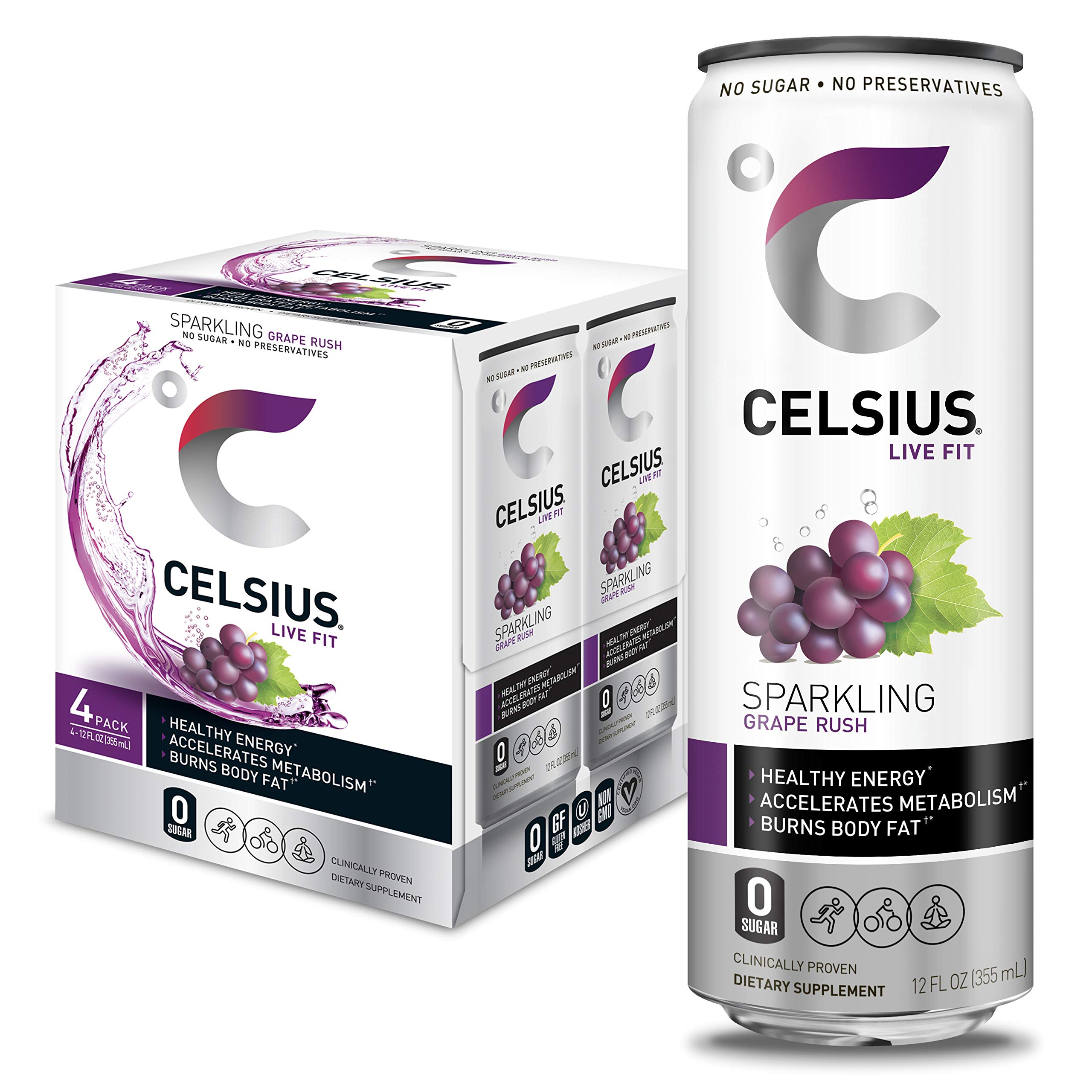 CELSIUS Sparkling Grape Rush Fitness Drink, Zero Sugar, 12oz. Slim Can (Pack of 4)