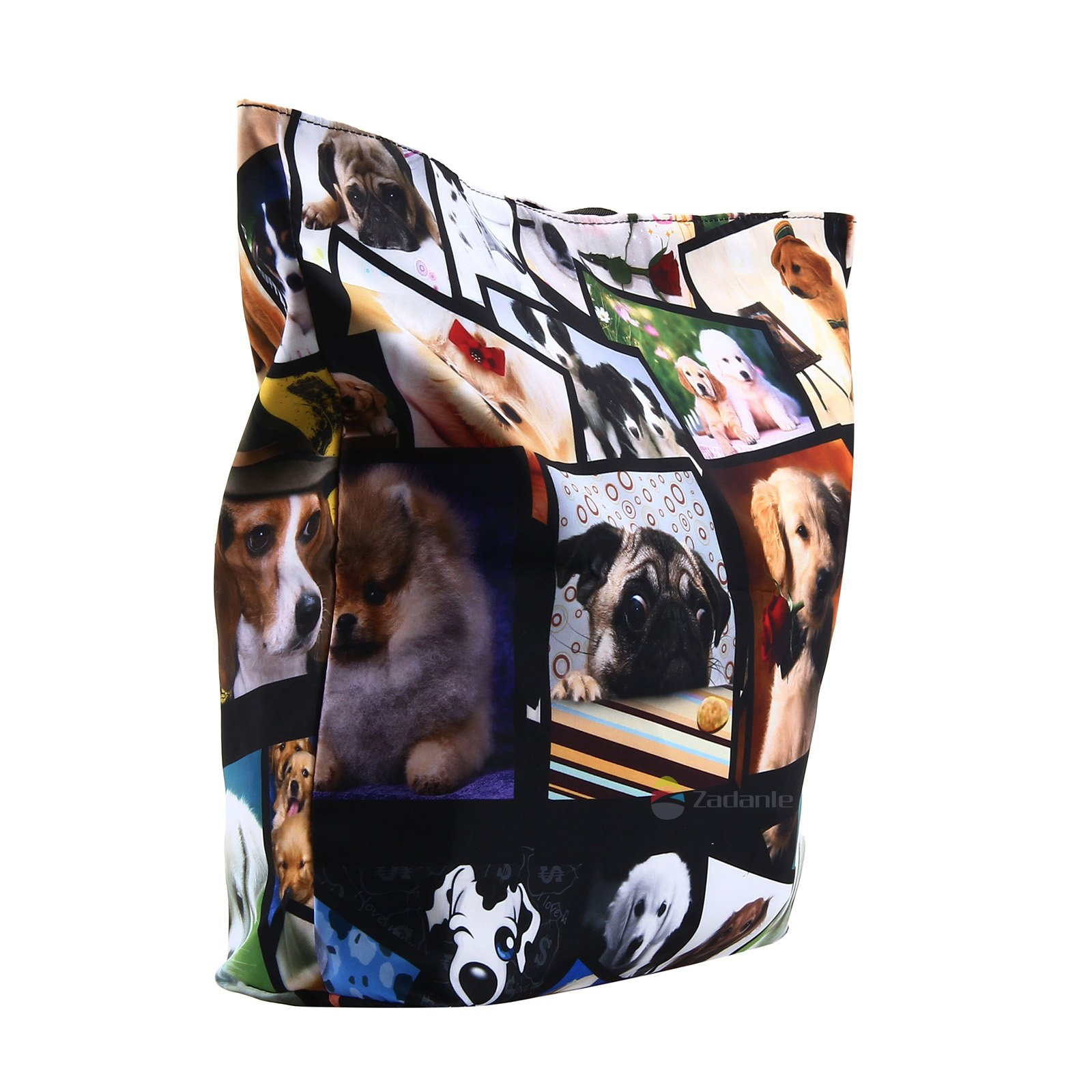 Newplenty Ladies Zippered Light Shoulder Shopping Tote Bag Handbag Beach Satchel, Many Dogs by newplenty (Image #3)