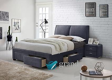 Montana 4 cajones de almacenamiento tela tapizado cama King Size luz ...