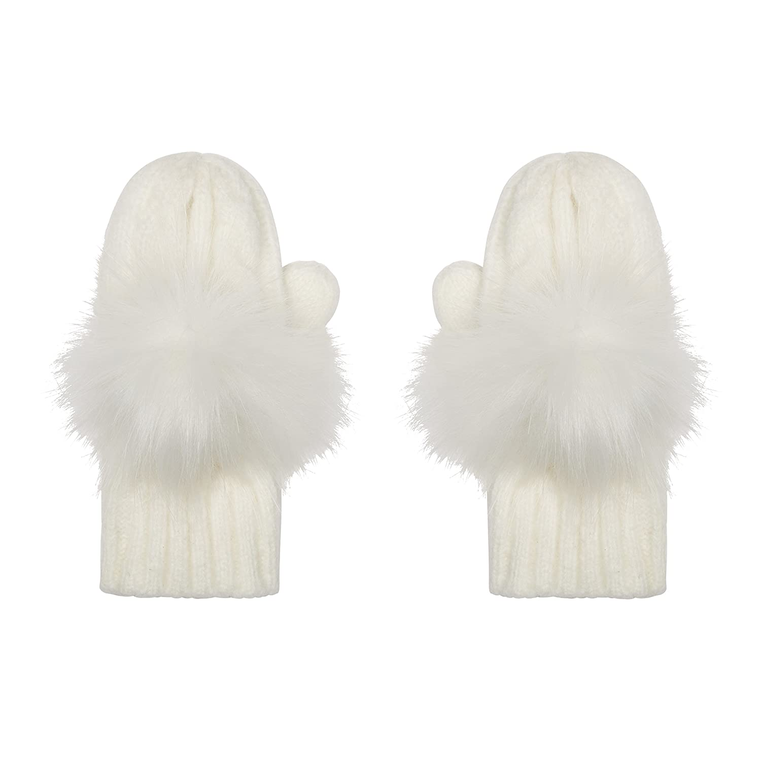 Aran Traditions Kids Cream White Cable Knit Faux Fur Pom Pom Gloves Mitts 3-6 Years