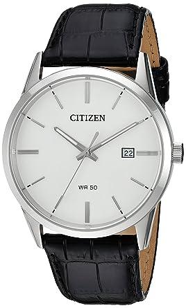 9313294d3 Citizen Men's Quartz Stainless Steel and Leather Casual Watch, Color:Black  (Model: