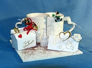 Geldgeschenk 2 Tassen Hochzeit Hochzeitsgeschenk Flitterwochen