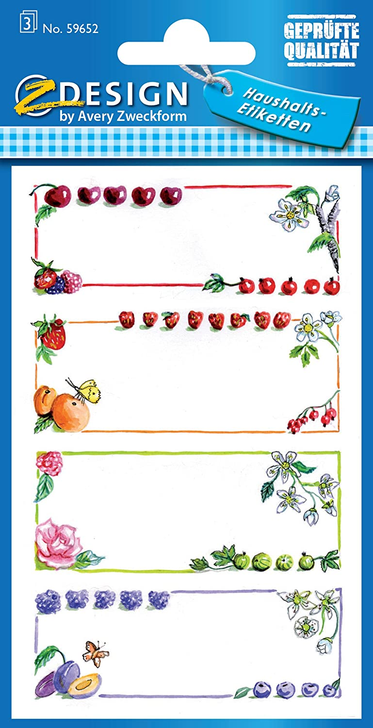 /Removable Wall Stickers/ /Fruit/ Avery Zweckform 59652/Jam Labels/ /12/Stickers