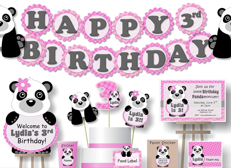 Remarkable Amazon Com Personalized Panda Bear Birthday Party Decorations Funny Birthday Cards Online Inifofree Goldxyz
