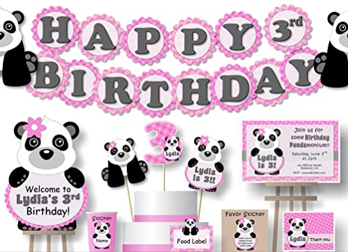 BIRTHDAY CARD PANDA AND BABY HAPPY BIRTHDAY CAN BE PERSONALISED