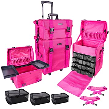 Amazon.com   SHANY Soft Makeup Artist Rolling Trolley Cosmetic Case with  Free Set of Mesh Bags d9e1851f24657