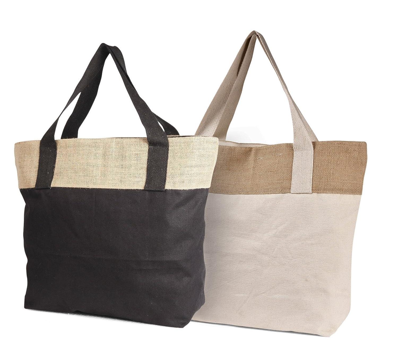 25個パック環境に優しい再利用可能なバッグジュートコットンコンボLarge Tote Bag with Zipper Closure – CarryGreenバッグ ブラック DS-516225Black B00H8B7FL6 ブラック