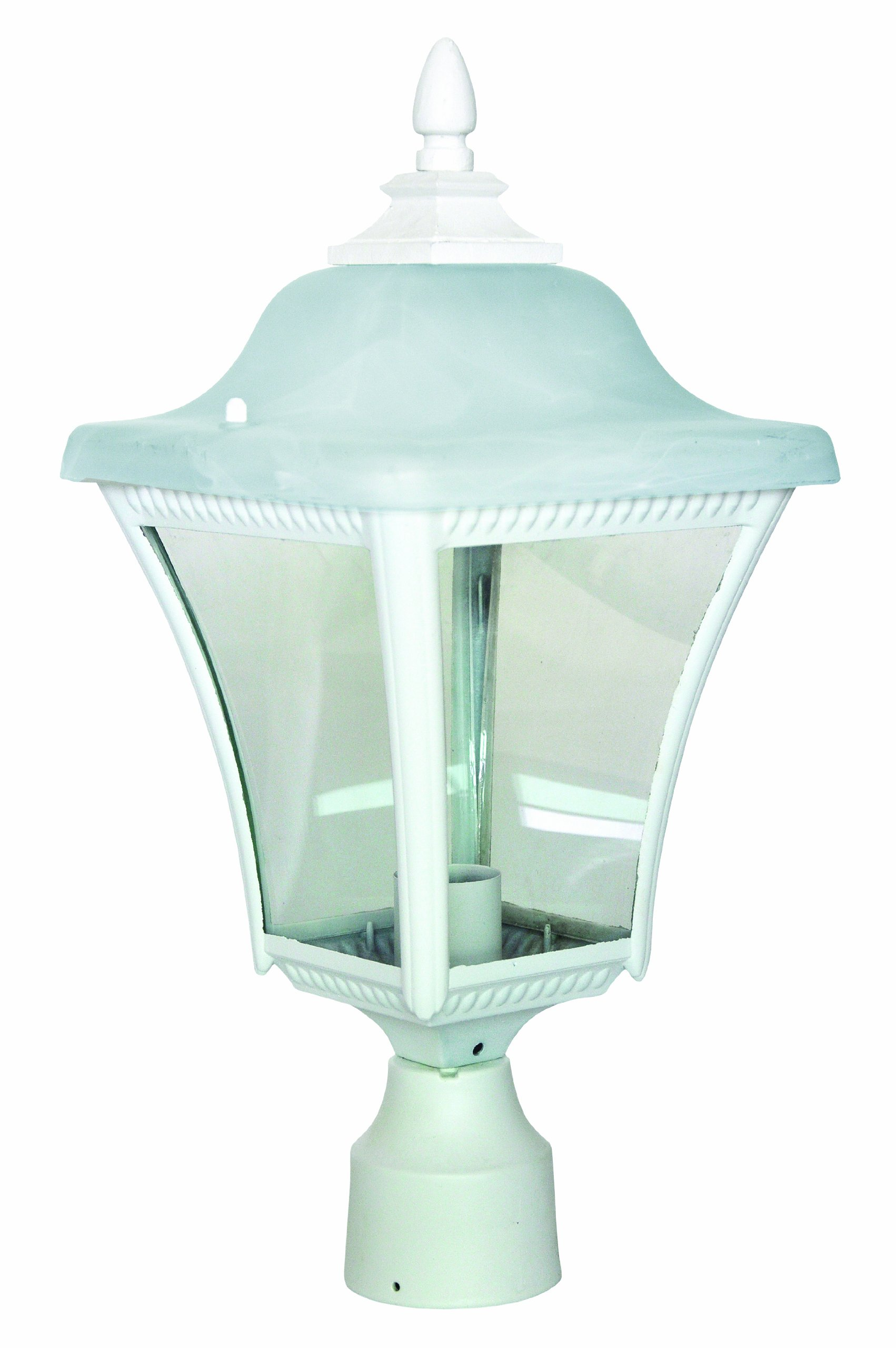 Park Madison Lighting PMO-990-30 1 Light Cast Aluminum Outdoor Post Head Fixture with Clear Beveled Glass Panels and White Finish,  H=17 3/4'' W=8 7/8''