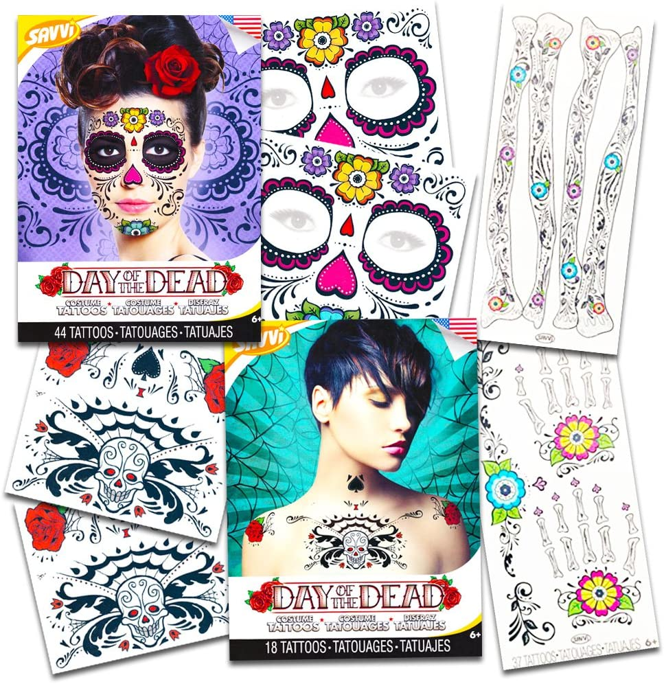 Day of The Dead Sugar Skull Ultimate Temporary Tattoo Set – Face, Arms, Hands and Chest Tattoo Kits (Floral Design)