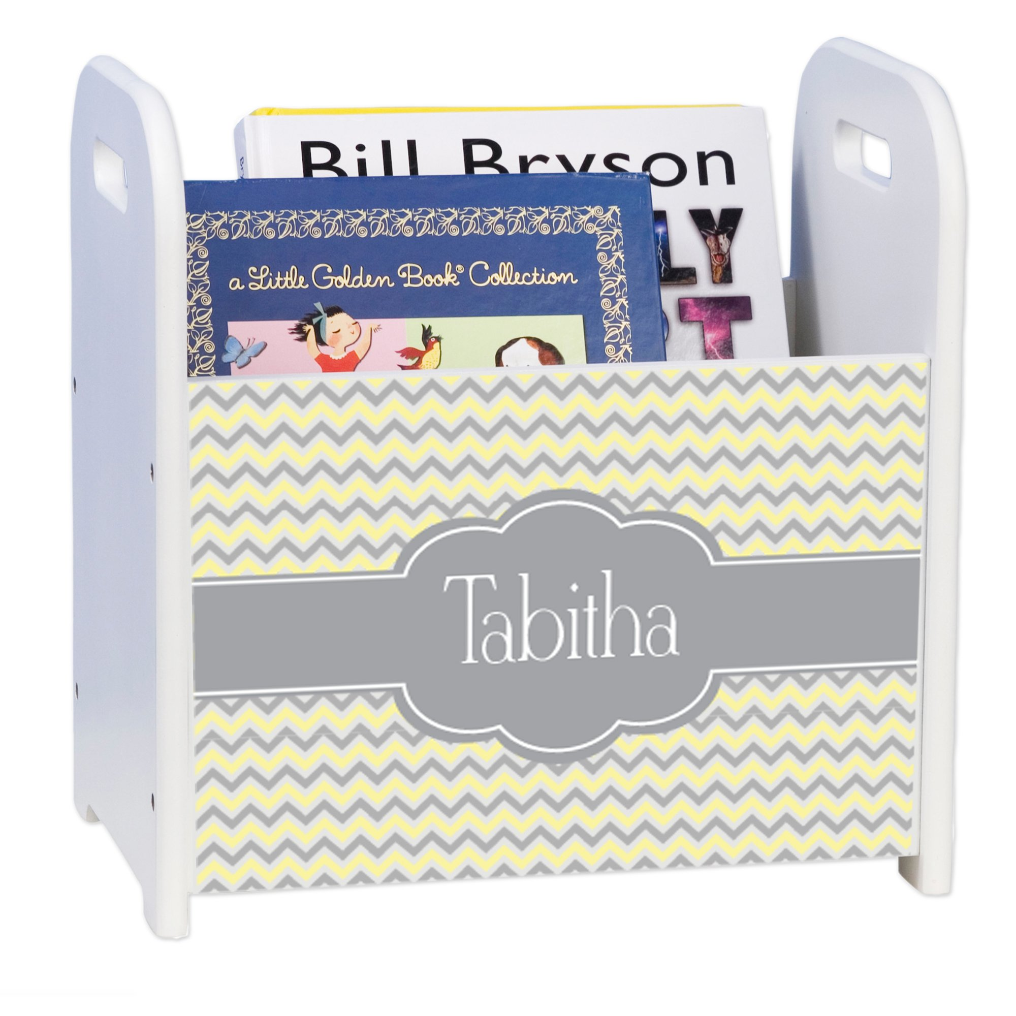 Personalized Chevron Gray and Lt White Book Caddy and Rack