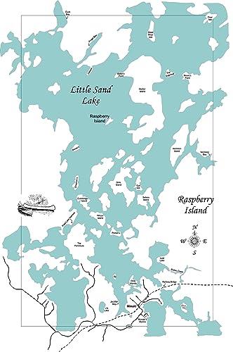 Amazon.com: Little Sand Lake, Ontario: Framed Wood Map Wall ...